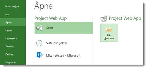 Bla gjennom-knapp for å åpne en Project Web App-fil