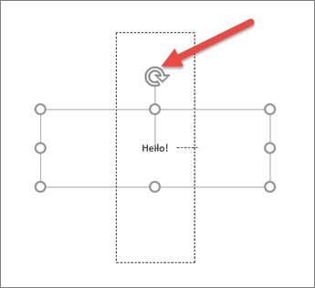 Tekst-boksen rotasjonshåndtaket