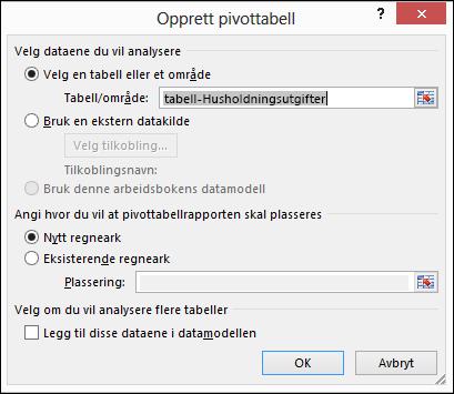 Dialogboksen Opprett pivottabell i Excel