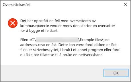 Dette er feilmeldingen du får hvis .csv-filen har dårlig formaterte data.