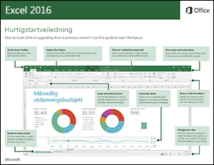 Hurtigstartveiledning for Excel 2016 (Windows)