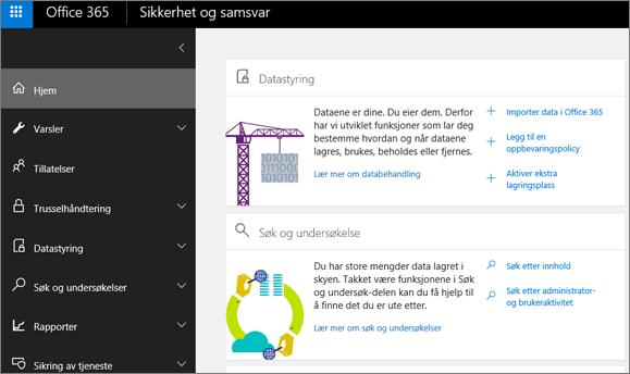 Hjemmesiden for sikkerhets- og samsvarssenteret for Office 365