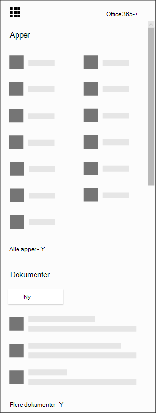 Startprogrammet for apper for Office 365