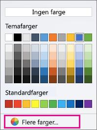 Alternativene for Skyggefarge med Flere farger uthevet.
