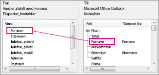 Tilordne en kolonne fra Excel til et Outlook-kontaktfelt