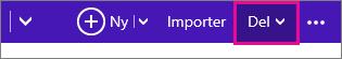 Outlook.com – klikk Del for å velge en kalender