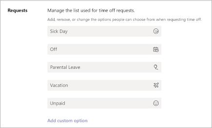 Legge til eller redigere fri tids forespørsler i Microsoft Teams-SKIFT