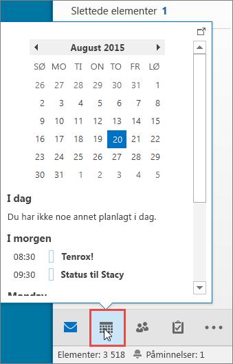 Kalenderoversikt med kalenderikonet uthevet
