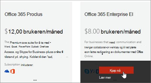Kjøp nå-kobling på Kjøp tjenester-siden i Administrasjonssenter for Office 365.