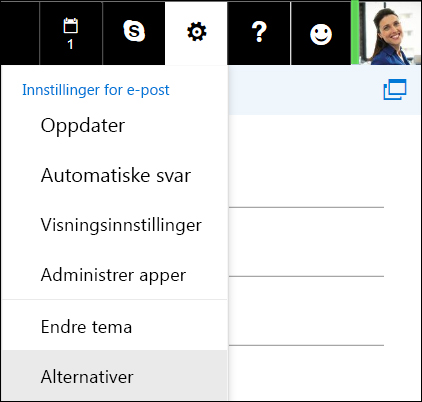 Innstillingsalternativer for Outlook på nettet