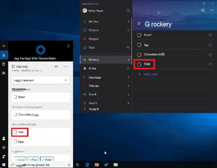 Skjermbilde som viser både Cortana og Microsoft To-Do åpne på Windows 10. Melk har blitt lagt til Handleliste ved hjelp av Cortana og er også tilgjengelig i Handleliste i Microsoft To-Do