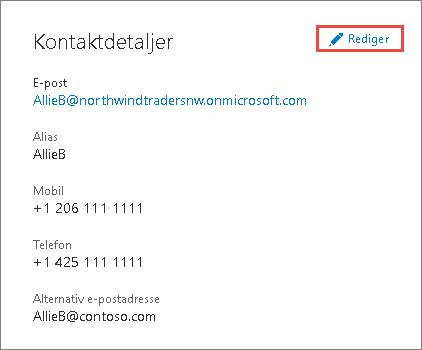 Bruk kontaktdetaljer til å oppdatere administratorinformasjon