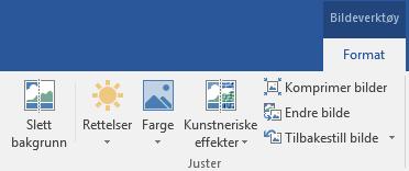 Fjern bakgrunn-knappen er på format-fanen under bilde verktøy på båndet i Office 2016.