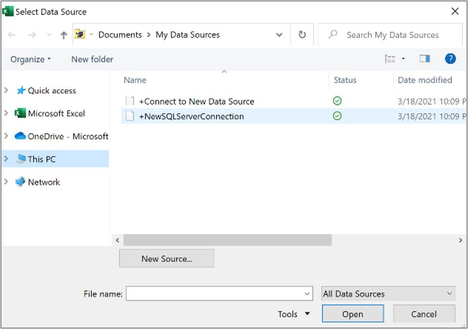 Dialogboksen Velg datakilde