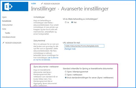 Skjermbilde av Avanserte innstillinger-siden for et dokumentbibliotek i SharePoint