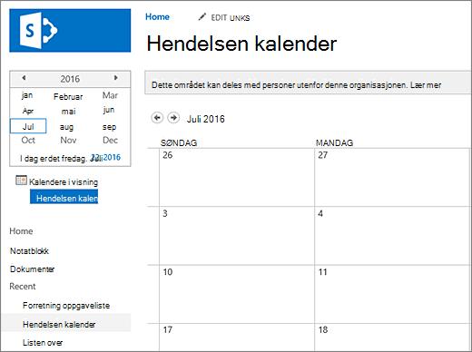 Eksempel på en kalender-appen for listen.