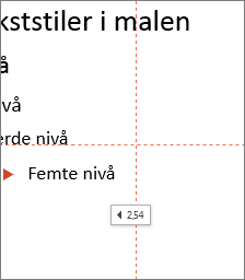 Et merke viser avstanden til midten av lysbildet