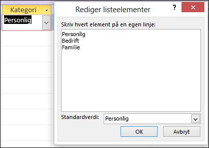Dialogboksen Rediger listeelementer i et Access-skjema