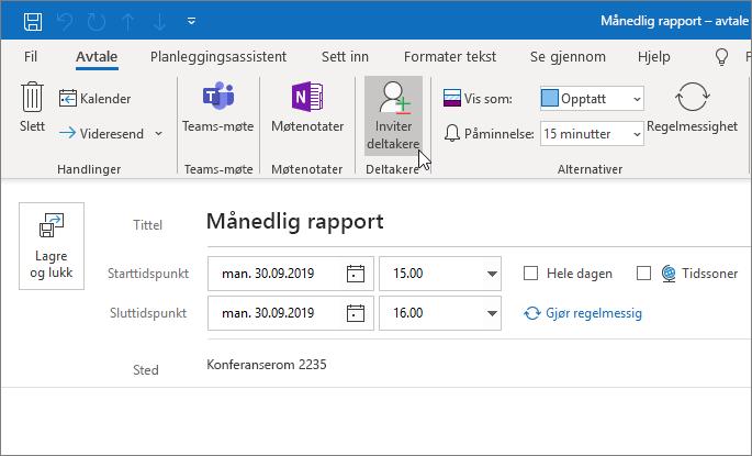 Planlegge en avtale i Outlook