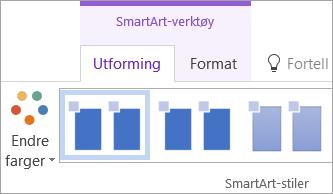 Endre farger-knappen på Utforming for SmartArt-verktøy-fanen