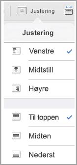 iPad meny for justering av tekst