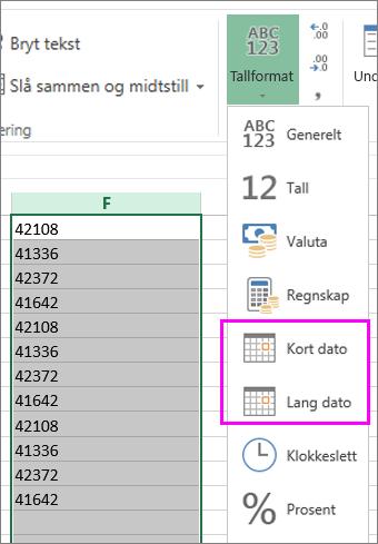 kolonne med datoer i tekstformat