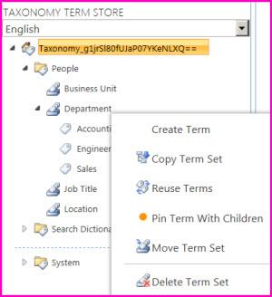 Du kan velge et gruppenavn i verktøyet for termlager for å åpne en meny som lar deg legge til termer i et termsett