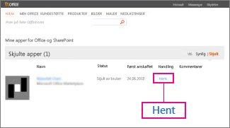 Hente en app for Office