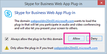 Klarer domenet for plugin-modulen for Skype for Business Web App