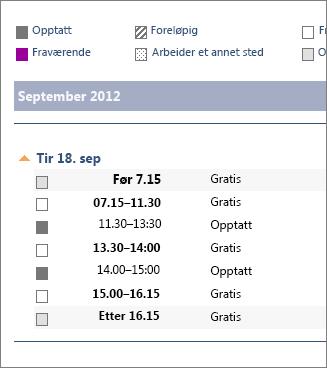 Eksempel på kalender delt i e-postmelding