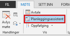 Planleggingsassistent-alternativet er i Møte-fanen.