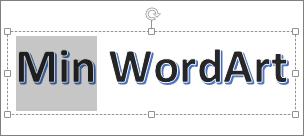 WordArt med noe av teksten merket