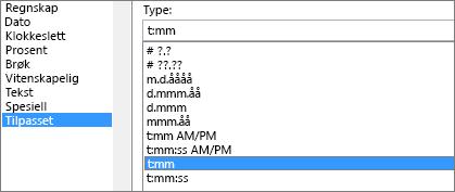 Dialogboksen Formater celler, egendefinert kommando, type t:mm