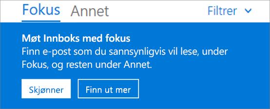 Et bilde av hvordan Innboks med fokus ser ut når du åpner Outlook på nettet.