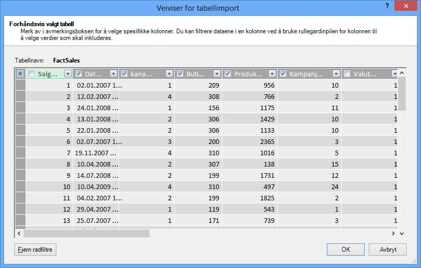 Forhåndsvisningsruten i veiviseren for tabellimport