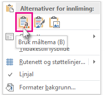 Alternativer for innliming: Bruk måltema