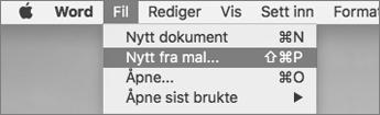 Klikk Ny fra mal på Fil-menyen.