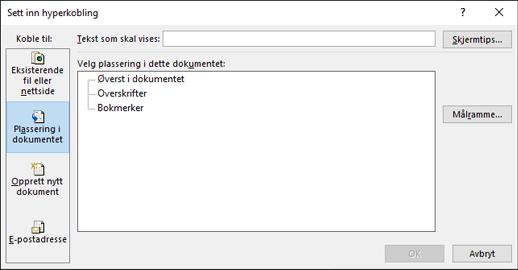 Opprette en kobling til et sted i gjeldende dokument
