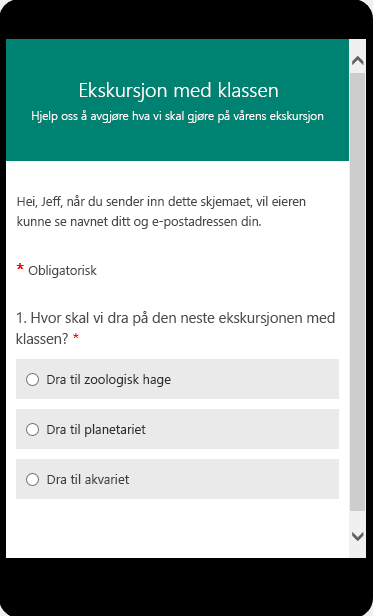 Forhåndsvisningsmodus for mobil for et klasseundersøkelsesskjema
