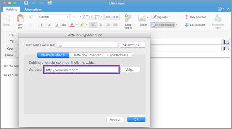 Dialogboksen for hyperkobling i Outlook for Mac