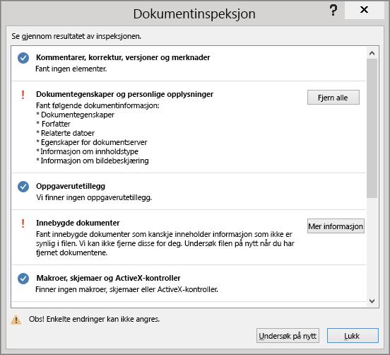 Dialogboksen Dokumentinspeksjon vises med alternativet Fjern alle