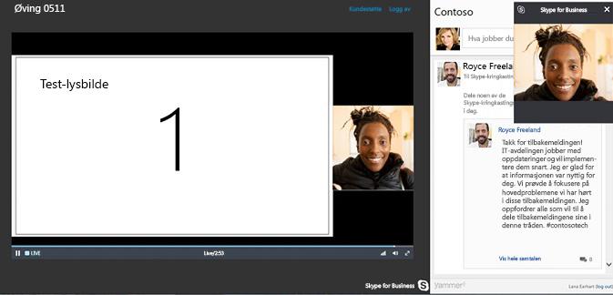 Skype-møtekringkasting med Yammer-integrering