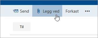 Et skjermbilde av Legg ved-knappen.
