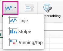 Velg Sparkline-grafikk på Sett inn-fanen