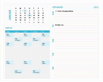 Mal for ukekalender for planlegging for studenter (Excel)