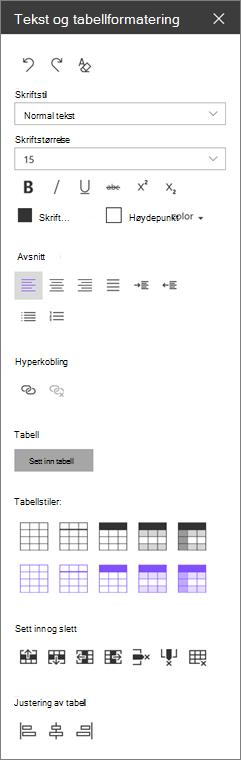 Webdel formatering tekstruten