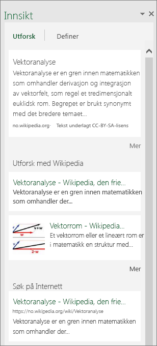 Ruten Innblikk i Excel 2016 for Windows