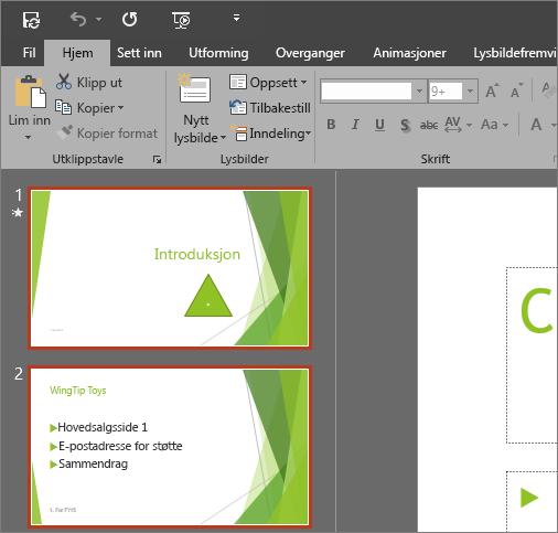 Viser PowerPoint 2016 med temaet Mørk grå i bruk