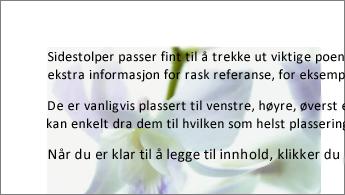 Eksempel på et bilde bak en tekstblokk