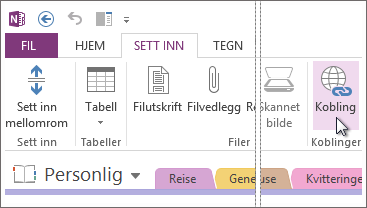Du kan legge til koblinger i notatene slik at du enkelt kan klikke en nettadresse og gå til den tilsvarende nettsiden.